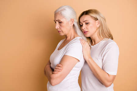Profile side view photo disappointed sullen granny ashamed depressed stress adult disagreement grey hairdo no communication offense apology touch shoulders trendy outfit isolated beige background