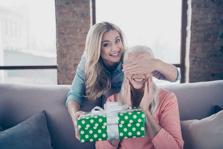 Close up photo two people she her ladies mom child grandmother not wait grandchildren holiday not see giftbox hide eyes daughter casual domestic clothes sit comfy couch divan flat house indoors Imagens