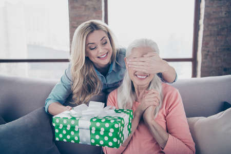 Close up photo two people she her ladies mom child grandmother not wait grandchildren holiday not see giftbox hide eyes ask guess who casual domestic clothes sit comfy couch divan flat house indoors Imagens - 120815886