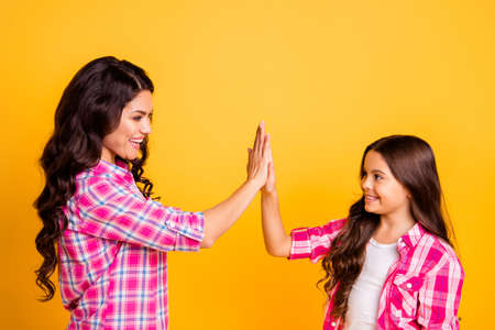 Profile side view portrait of nice-looking attractive lovely cheerful cheery positive wavy-haired girls wearing checked shirt clapping palms attainment isolated on bright vivid shine yellow background