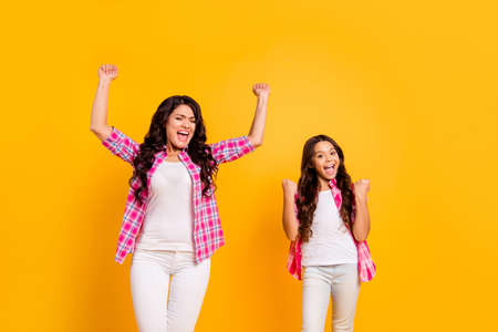 Portrait of nice-looking attractive lovely cheerful cheery positive optimistic wavy-haired girls wearing checked shirt attainment isolated over bright vivid shine yellow background