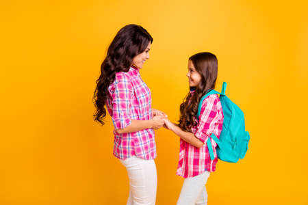 Close up side profile photo two people she her models ladies mom small little daughter hold hands farewell study time see you soon wear casual pink checkered plaid shirts isolated yellow background