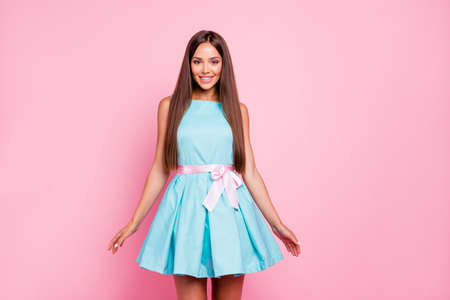 Portrait of her she nice-looking attractive stunning winsome elegant fascinating cheerful straight-haired lady mint green dress isolated over pink pastel background