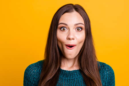 Close up photo beautiful funky her she lady brown eyes look ecstatic empty space open mouth black friday low little prices wear green knitted pullover jumper clothes isolated yellow background
