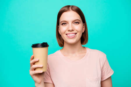 Close up photo beautiful amazing her she lady hold arm paper hot coffee take away made best way wakeup awaking favorite americano latte cappuccino wear casual t-shirt isolated teal turquoise background Banque d'images - 121965975