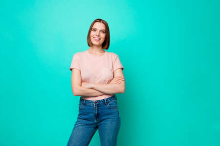 Portrait of charming lovely creative lady intelligent feel glad worker have free time weekends holidays education concept wear fashionable denim spring outfit isolated on turquoise background Banque d'images