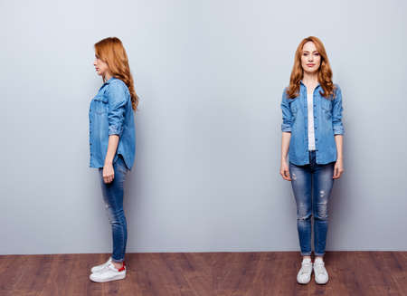 woman wearing casual blue jeans denim shirt isolated grey background Stock Photo