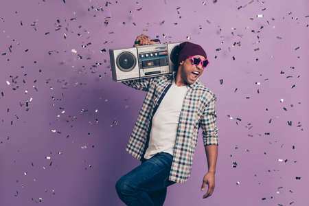 Close up photo  guy wear casual clothes isolated   background Stock Photo