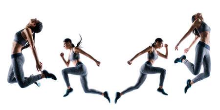 Endurance strength persistence sport. Full length full size portrait sporty purposeful she her sportswoman running jumping illustration  creative design stylized isolated white background Reklamní fotografie - 121561930