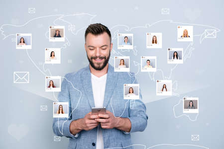 Close up photo interested   guy hold telephone exchange information citizen community illustration pictures girls dating site futuristic creative design isolated grey background