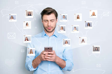 Close up portrait serious successful guy manager bristle looking his telephone typing sms through 5g internet different ladies pictures illustration microblogging isolated grey background