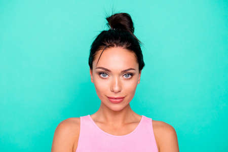 Close up photo beautiful amazing she her lady pretty hairdo look listen attentively ideal appearance smart clever eyes wear casual pink tank-top outfit clothes isolated teal turquoise background Stock Photo