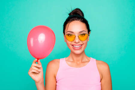 Close up photo beautiful funky hairstyle she her lady hold hands arms air balloon birthday congrats best friend gift present wear specs casual tank-top isolated bright teal turquoise background