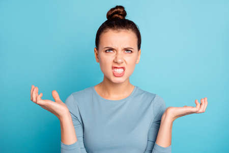 Close up photo beautiful amazing she her lady arms hands raised terrible situation toothy mouth not fear way conclusion solution question wear casual sweater pullover isolated blue bright background
