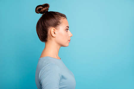 Profile side view photo of charming clever lady minded interested thoughts future wear fashionable cotton clothing isolated on vibrant background