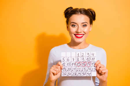 Close up photo cute beautiful she her lady pretty hairdo two buns hand arm hold paper calendar marked days off vacation weekend wear casual white pullover clothes isolated yellow background