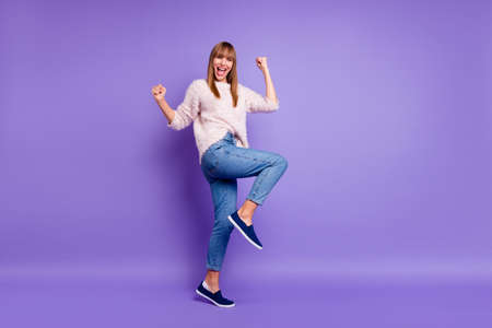 Full length body size view portrait of her she nice-looking attractive winsome lovely cheerful cheery straight-haired lady having fun isolated on bright vivid shine violet purple background