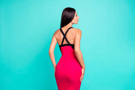 Close up back rear behind photo beautiful she her lady look tender figure forms perfect appearance skinny body long hairstyle formal-wear red tempting dress isolated teal turquoise bright background