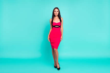 Full length body size photo beautiful she her lady perfect ideal appearance skinny body long straight hairstyle not smile wear formal-wear red tempting dress isolated teal turquoise bright background