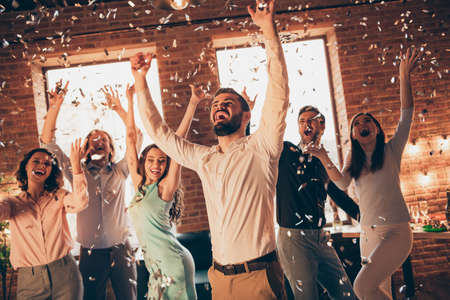 Close up photo best friends hang out dancing great time drunk birthday sing singer hands arms raised up shout she her ladies he him his guys wear dress shirts formalwear glitter loft room indoors