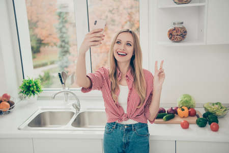 Close up photo beautiful amazing she her lady hold hands arms telephone make take selfies show v-sign hello homey wear domestic home apparel shirt jeans denim outfit bright flat home kitchen indoors