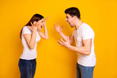 Profile side view portrait of his he her she two attractive angry aggressive nervous people having fight anger blame isolated over vivid shine bright yellow background