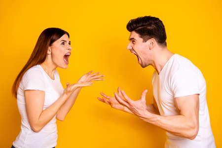 Profile side view portrait of his he her she two attractive aggressive frustrated annoyed irritated crazy people having fight blame isolated over vivid shine bright yellow background
