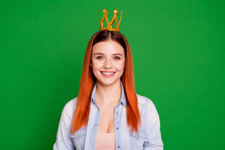 Close up photo attractive satisfied lady majesty celebrate content toothy have long straight hair birthday individuality wear denim modern outfit isolated on green background