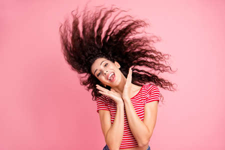 Portrait of her she nice-looking attractive lovely charming shine cheerful cheery crazy wavy-haired girl having fun time isolated over pink pastel background Imagens
