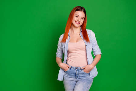 Close up photo beautiful amazing crazy she her foxy lady sincerely look toothy beaming smile pretty attractive affectionate adorable wear casual jeans denim shirt isolated green bright background