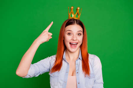 Victory ad. Photo crazy funky suggest way hipster tiara astonished impressed shout incredible reaction wow omg unbelievable beautiful trendy stylish jeans isolated royalty majesty green background