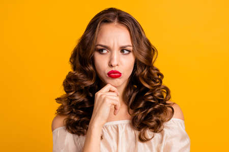 Close-up portrait of her she nice attractive lovely gorgeous chic grumpy gloomy naughty wavy-haired lady blowing plump lips isolated over bright vivid shine yellow background