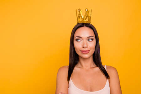 Close up photo beautiful amazing she her lady look side empty space leader chief gold crown head famous person pop star girls run world wear casual pastel tank-top isolated yellow bright background