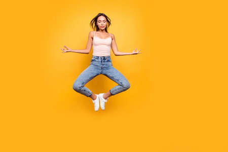 Full length body size view photo lovely beautiful stylish lady train trendy inspiration dream dreamy silent serenity tranquility close eyes satisfied summer clothing isolated colorful background