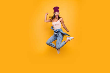Full length body size view photo of funky funny lady do movements scream shout loud shocked satisfied raise hands dressed denim trousers pastel summer outfit isolated on colorful background