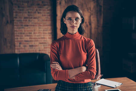 Close up photo of gorgeous magnificent elegant lady youth clever collar stand true entrepreneur style stylish brunette wear red sweater specs in industrial Imagens