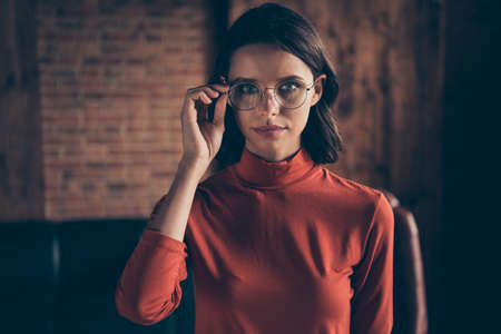 Close up photo of magnificent luxury attractive lady youngster clever collar stand true entrepreneur enterprise style stylish brunette wear red sweater specs in industrial