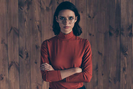 Portrait of serious focused gorgeous magnificent leader leadership enterprise concept wavy curly hair hairstyle brunette style stylish trendy outfit red sweater interior modern specs