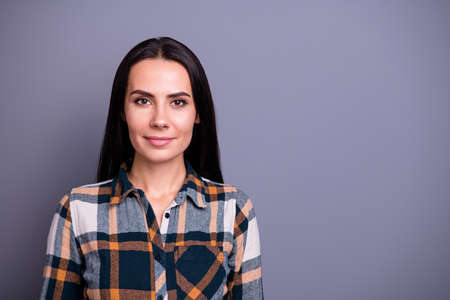 Close-up portrait of her she nice-looking attractive lovely content calm straight-haired lady wearing checked plaid isolated over gray violet purple pastel background