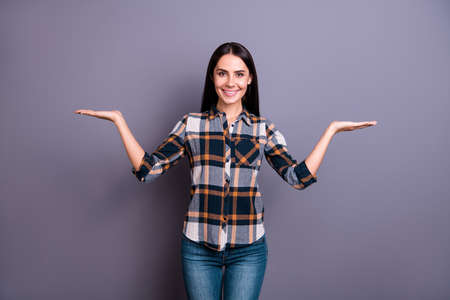 Portrait nice attractive lady millennial people advert give feedback promo offer advice decision choice satisfied content candid wear checkered modern outfit jeans denim isolated silver background