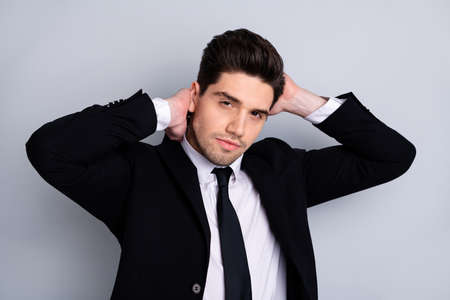 Close up photo amazing he him his macho handsome just visited hairdresser touch perfect styling black hair both hands arms wear specs shirt suit jacket tie formalwear isolated grey background