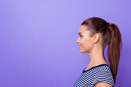 Profile side view photo of  ponytail attractive lovely lady future true entrepreneur contemplate dream dreamy toothy candid wear fashionable clothing isolated colorful violet background Stock Photo
