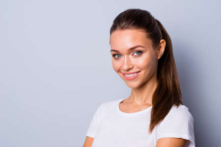Close up side profile photo beautiful amazing she her lady perfect ideal teeth self-confident easy-going person listening good news sure such results wear casual white t-shirt isolated grey background