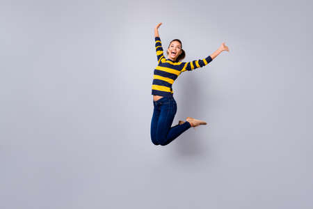Ful length body size view photo cute sweet lovely  nice lady content candid satisfied teen teenager laugh laughter weekend scream shout isolated jeans striped outfit grey background summer travel