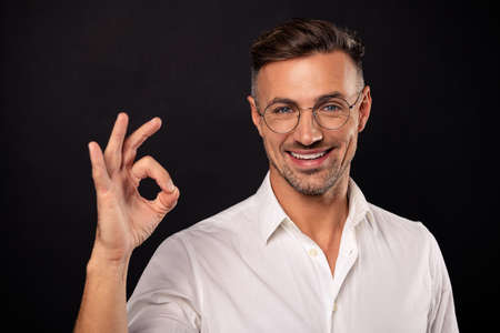 Portrait of his he nice attractive content cheerful cheery guy wearing eyeglasses eyewear it consultant specialist expert shark employee career showing ok-sign isolated over black background
