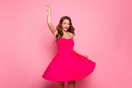 Close up photo beautiful she her dancing prom queen lady attractive show ideal white teeth plump allure rose lips graduation party wear cute shiny colorful dress isolated pink bright vivid background Stok Fotoğraf