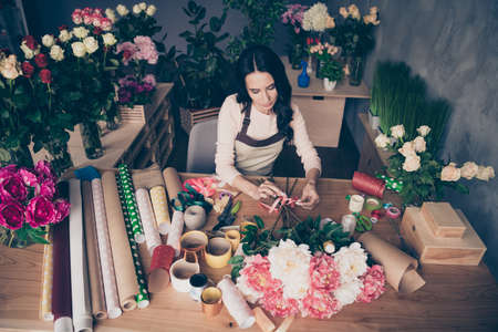 Top above high angle view of nice attractive lovely charming focused concentrated serious wavy-haired lady employee preparing composing new birthday garden love hobby grey concrete wall workplace. Фото со стока