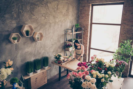 Close up top above high angle photo beautiful she her lady many vases retail seller assistant hands arms cut arranging compose diy fresh flowers condition opening small flower shop room indoors.