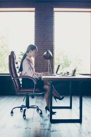 Vertical profile side view of her she nice attractive elegant trendy stylish lady shark founder writing email preparing creating finance report at industrial loft style interior work place station