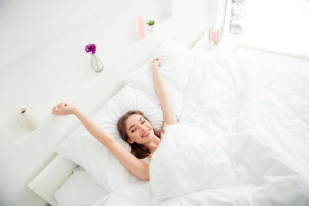 Top above high angle view photo cute fancy student youth lady imagine wake up day dream close eyes candid healthy bedding care hair hairstyle brunette underwear night wear lying bed textile apartment